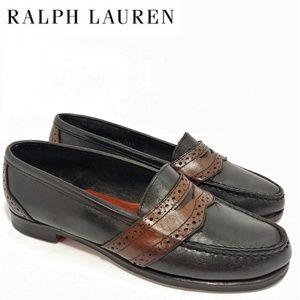 Ralph Lauren Womens Two Tone Penny Loafer Sz 8.5AA